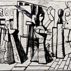 Sironi Mario, Gruppo di manichini e oggetti in una piazza